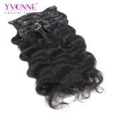 Pinza de pelo brasileña de la Virgen de la onda de la carrocería de Yvonne en el color natural 120g/Set de los pedazos/conjunto de las extensiones 7 del pelo humano