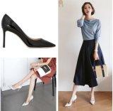 heels 8cm 한국 여자 에나멜 가죽 신발 숙녀 작풍