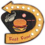 """Delle fritture dell'oggetto d'antiquariato della decorazione dell'annata """"indicatore luminoso della decorazione W/LED della parete del metallo di disegno degli hamburger di benvenuto &"""""""