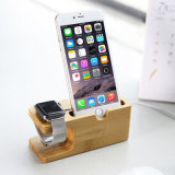 Wood Phone Holder Dock Station para Apple Watch e iPhone