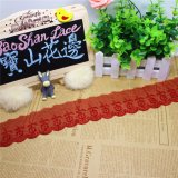 Merletto netto di nylon della maglia di immaginazione della guarnizione del ricamo del poliestere del merletto del commercio all'ingrosso 9.5cm del ricamo di riserva di larghezza per l'accessorio degli indumenti & tessile & tende domestiche