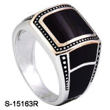 Anel de prata do homem do esmalte dos anéis dos homens da CZ da jóia 925 da forma