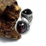 Agate Men's Rings 316L en acier inoxydable bijoux en mode noir et rouge