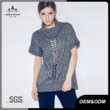 Maglione di manicotto di scarsità aperto del Knit del collo del cappuccio per le donne