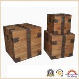 大きく自然な木製の記憶のオットマンのトランク、宝物箱