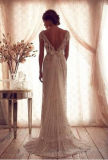 Coluna da luva do tampão do vintage/vestido casamento frisados da bainha com foto real