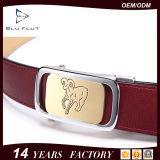 Kundenspezifische ursprüngliche Entwurfs-Fabrik-echte rote lederne Metallfaltenbildung-Riemen für Männer