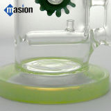 Bocal curvado tubo de água de fumar de vidro com engrenagem (AY 021)
