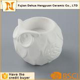 Supporto di candela di ceramica bianco di figura sveglia del gufo per la decorazione domestica