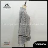Suéter Textured cuello alto del suéter de la mezcla del Knit flojamente