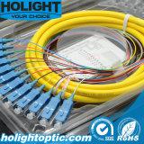 Сердечника отрезка провода 12 волокна желтый цвет Sc оптически однорежимный
