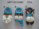 산타클로스, 눈사람 및 큰사슴 Christmasdecoration 문의 손잡이 3 Asst