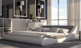 Heiß-Verkauf Form-europäisches weißes echtes Leder-Bett (HC552)