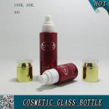Red Colora pulverização garrafas de vidro cosméticos e pratos de vidro cosmético com tampas acrílicas