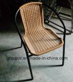 강철 PE 등나무 의자 옥외 고리 버들 세공 가구