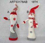 """16 """" H che impilano sul natale Decoration-2asst del pupazzo di neve e della Santa"""