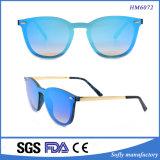 Gatto ricoprente degli occhiali da sole polarizzato modo popolare delle tempie del metallo di Frameless