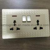 Socket del doble 13A del estilo del diamante del oro con el interruptor
