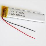 batería recargable del Li-Po DIY del polímero del litio de 3.7V 1500mAh 752080 para la batería de la potencia de la PC de la tablilla del E-libro del juego video del GPS PSP de la pista