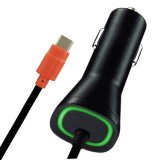 2in1 carregador verde da parede do curso do diodo emissor de luz QC2.0 com cabo do USB