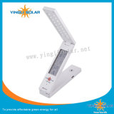 Plegado Solar lámpara de escritorio con reloj alarma Fecha en función del indicador de temperatura