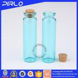 (5ml 10ml 20ml) botella de cristal de la muestra de la botella del corcho del color azul claro con el corcho de madera