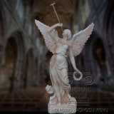 Grand jardin de marbre sculpté à la main de la qualité ange ailé statue à la vente