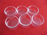 熱抵抗のふたが付いている円形の明確な水晶皿