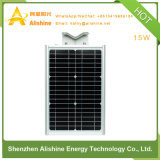 LiFePO4 건전지를 가진 1개의 통합 LED 태양 가로등에서 15W 전부
