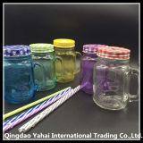 frasco de pedreiro 450ml de vidro colorido azul/frasco de pedreiro
