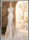 Vestidos de casamento nupciais perlados sereia Wd2789 do trem