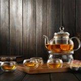 Crisol de cristal y tazas del regalo de té de la cristalería de cristal del conjunto