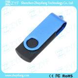 Azionamento dell'istantaneo del USB della plastica 8GB della parte girevole del metallo dell'azzurro di cielo con il marchio (ZYF1819)