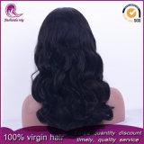 자연적인 까만 큰 파도치는 Malaysian Virgin 머리 가득 차있는 레이스 가발