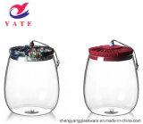 Grau alimentício 4 PCS conjunto canister de vidro com tampa de bambu