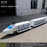 Tren sin rieles de interior del esquema fresco y al aire libre con pilas