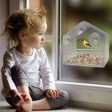 2018 El alimentador de aves de la ventana de acrílico con bandeja extraíble, orificios de drenaje y 4 copas de succión