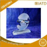 Étalage cosmétique de plancher acrylique en plastique clair avec l'éclairage