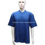 Qualidade superior 100% algodão V pescoço T-shirt Azul Escuro