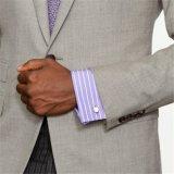 Men를 위한 대조 Fabric Collar Purple Striped Dress Shirt
