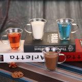 Leite de consumo de parede dupla caneca de vidro borossilicato do Copo de vidro de chávena de café