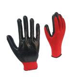 Vermelho de alta qualidade com nylon preto revestidos de luvas de nitrilo