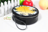 Lovely Round PU Cosmetic Bags with Wrist Strap