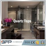 La Cina ha lucidato quarzo nero/bianco/giallo della mobilia per la parte superiore di vanità della stanza da bagno