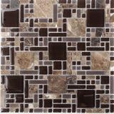 建築材料の自然な石造りの大理石の混合されたガラスモザイク床のタイル