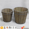 2 Conjunto de barril de madeira redondo marrom antigo