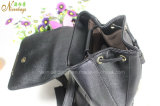 2016 neues Designer Black Color mit Drawstring PU Leather Backpack