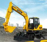 Piccolo escavatore a cucchiaia rovescia dell'escavatore della rotella gialla ampiamente usata della benna 8.5t 0.3m3