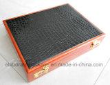 Caixa de coleção de madeira com bloqueio combinado e alça