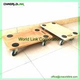 '' carrello di legno della piattaforma della gomma solida 3 con il coperchio antisdrucciolevole